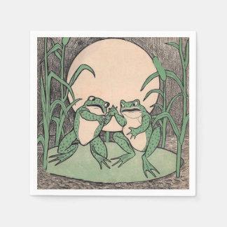 Guardanapo De Papel Lua engraçada de dois sapos verdes do amor do