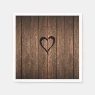 Guardanapo De Papel Madeira rústica impressão queimado do coração