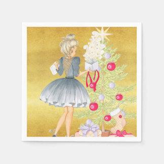 Guardanapo De Papel Mágica do Natal - louro que decora uma árvore