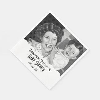Guardanapo De Papel Mamã do vintage e chá de fraldas preto e branco da