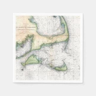 Guardanapo De Papel Mapa Cape Cod do vintage, Martha's Vineyard de