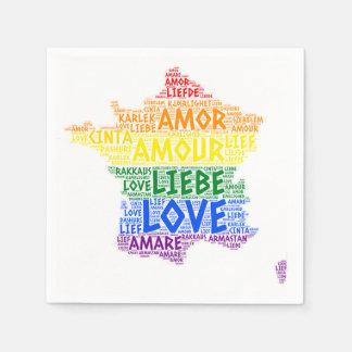 Guardanapo De Papel Mapa de France do arco-íris de LGBT ilustrado com