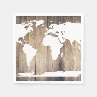 Guardanapo De Papel Mapa do mundo de madeira branco e rústico