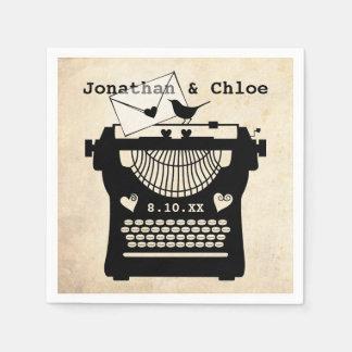 Guardanapo De Papel Máquina de escrever romântica do vintage