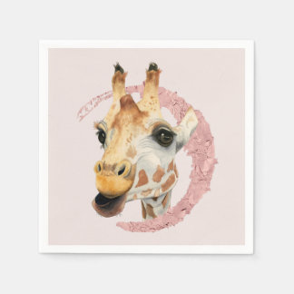 """Guardanapo De Papel """"Mastigação"""" pintura da aguarela de 3 girafas"""