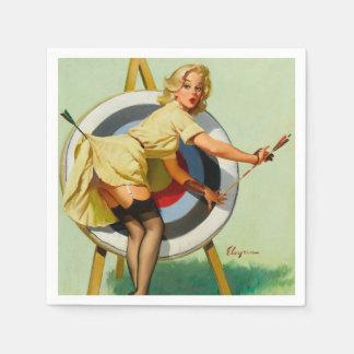 Guardanapo De Papel Menina do Pin-Acima do tiro ao arco