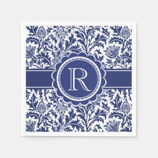 Guardanapo De Papel Monograma azul e branco de William Morris da