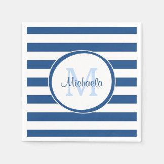 Guardanapo De Papel Monograma azul rico anca e listras horizontais