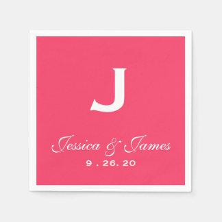 Guardanapo De Papel Monograma cor-de-rosa do casamento