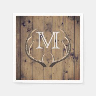 Guardanapo De Papel Monograma de madeira dos Antlers dos cervos do