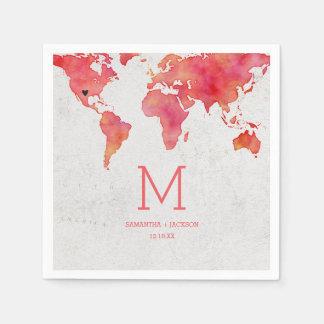 Guardanapo De Papel Monograma do casamento do destino do mapa do mundo