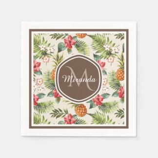 Guardanapo De Papel Monograma floral de Brown do abacaxi tropical