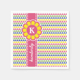 Guardanapo De Papel Monograma geométrico colorido da fita da flor da