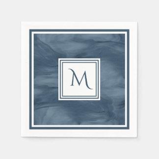 Guardanapo De Papel Monograma moderno de mármore subtil dos azuis