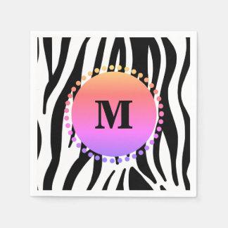 Guardanapo De Papel Monograma preto do costume da listra da zebra