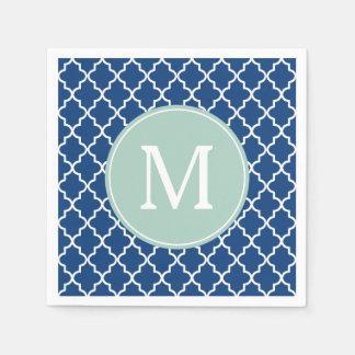 Guardanapo De Papel Monograma verde de Quatrefoil dos azuis marinhos e