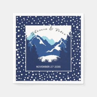 Guardanapo De Papel Montanhas azuis, brancas e bolinhas que wedding