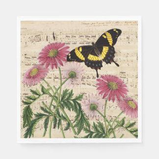 Guardanapo De Papel Música da borboleta da margarida