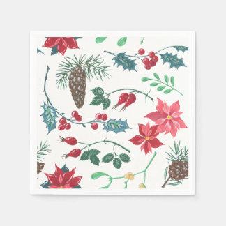 Guardanapo De Papel Natal botânico tradicional (branco)