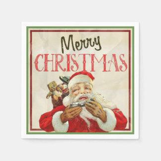Guardanapo De Papel Natal clássico de Papai Noel do vintage