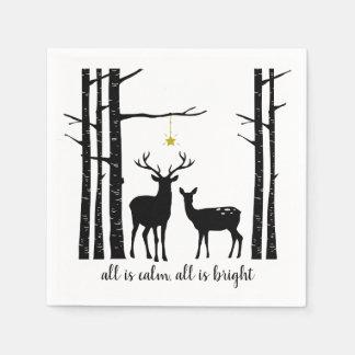 Guardanapo De Papel Natal | das árvores e dos cervos de vidoeiro