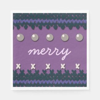 Guardanapo De Papel Natal sazonal decoração feita malha com texto
