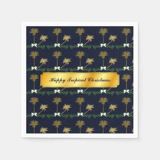 Guardanapo De Papel Natal tropical do azul e do ouro com palmeiras