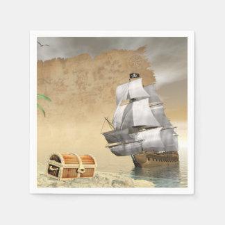 Guardanapo De Papel Navio de pirata que encontra o tesouro - 3D rendem