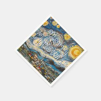 Guardanapo De Papel Noite estrelado do Feliz Natal após Van Gogh
