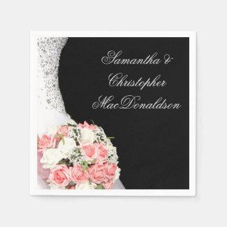 Guardanapo De Papel Noivas cor-de-rosa que wedding rosas no preto