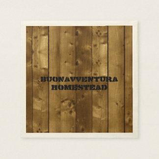 Guardanapo De Papel Nome customizável dos Slats de madeira rústicos