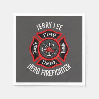 Guardanapo De Papel Nome do texto do sapador-bombeiro personalizado