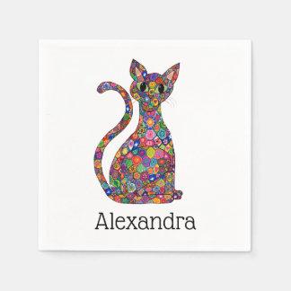 Guardanapo De Papel Nome lunático colorido do monograma do gato do