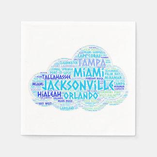 Guardanapo De Papel Nuvem ilustrada com as cidades do estado EUA de