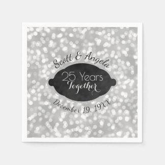 Guardanapo De Papel O 25o aniversário de casamento de prata moderno