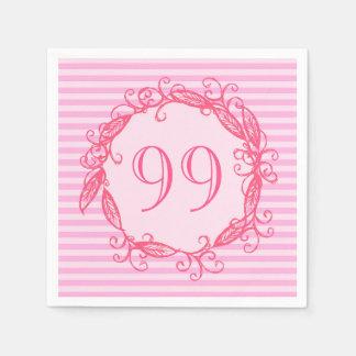 Guardanapo De Papel O aniversário Swirly cor-de-rosa bonito das
