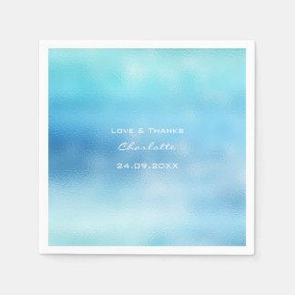 Guardanapo De Papel O Aqua branco de vidro de Ombre do céu azul de