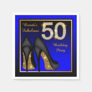 Guardanapo De Papel O azul da mulher e a festa de aniversário do ouro