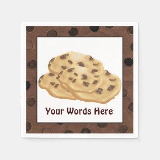Guardanapo De Papel O biscoito dos pedaços de chocolate adiciona os