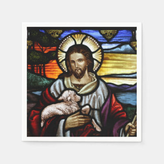 Guardanapo De Papel O bom pastor; Jesus no vitral