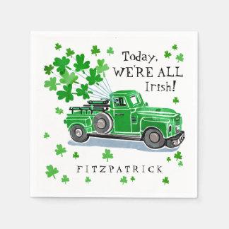 Guardanapo De Papel O caminhão do vintage do verde do dia de St