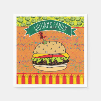 Guardanapo De Papel O cheeseburger do CHURRASCO do verão adiciona o