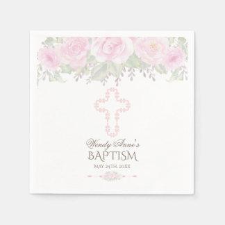 Guardanapo De Papel O chique cora batismo floral da menina do jardim