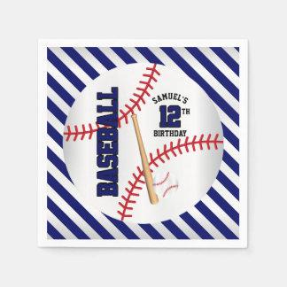 Guardanapo De Papel O design azul escuro | do aniversário do basebol