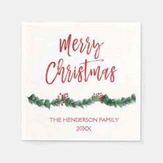 Guardanapo De Papel O Feliz Natal entrega Natal indicado por letras do