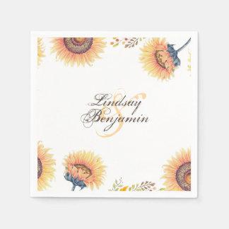 Guardanapo De Papel O girassol fabuloso floresce casamento rústico
