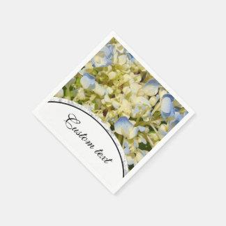 Guardanapo De Papel O hydrangea azul e branco-amarelado floresce a