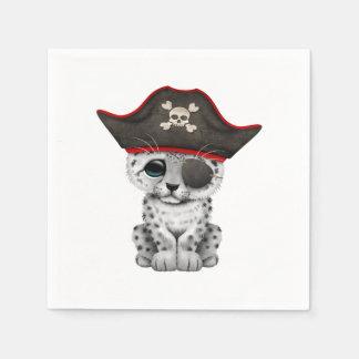 Guardanapo De Papel O leopardo de neve bonito Cub do bebê pirateia
