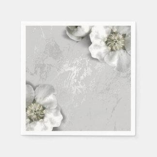 Guardanapo De Papel O mármore das cinzas de prata metálico cora a flor