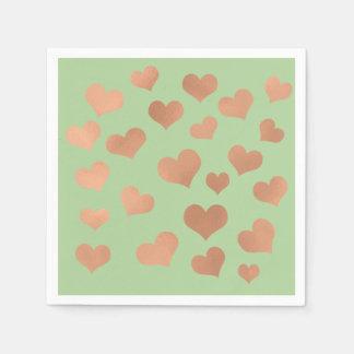 Guardanapo De Papel O ouro cor-de-rosa cora verde das hortaliças dos
